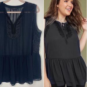 LANE BRYANT | Black Sheer Lace Trim Peplum Blouse